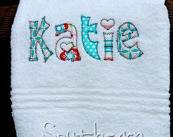 Applique Name Towel Personalized Bath Towel for Girls or Boys