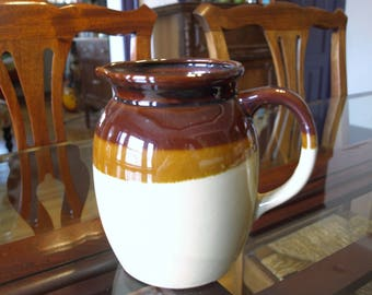 Vintage Stoneware Ceramic Pottery Milk Pitcher – Brown and Tan – Made in Japan