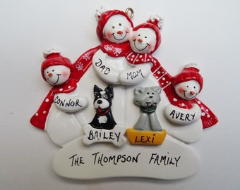 Personalized Snow Family of 4 with 2 Pets - Snow Family of 4 Christmas Ornament with 2 Dogs - Snow Family of 4 Ornament with Cats