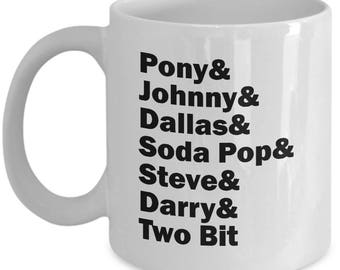 The Outsiders Character List Mug Gift Book Movie Coffee Cup Ponyboy Soda Pop Characters