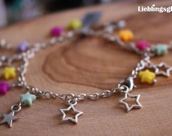 Silver bracelet with colorful asterisks