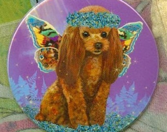 Apricot Red Poodle Fairy Wings Purse Mirror 2 sizes available