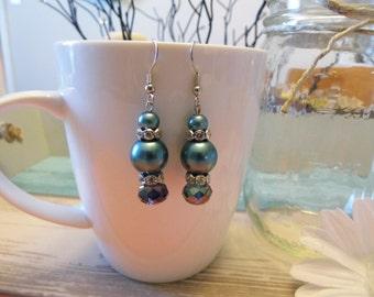 Medium Teal Pearl & Crystal Dangle Earrings