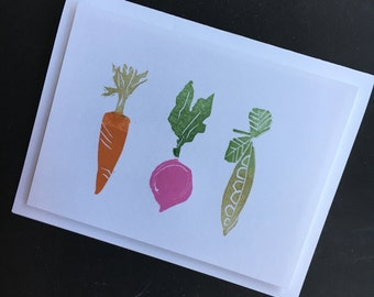 Vegetable hand stamped note cards - A2 - 4 1/4 X 5 1/2