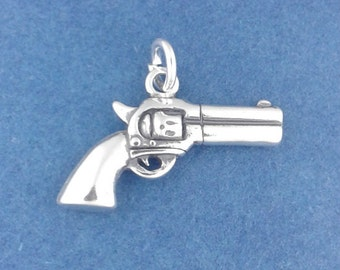 REVOLVER Charm .925 Sterling Silver Pendant, Gun, Pistol Pendant - d44167