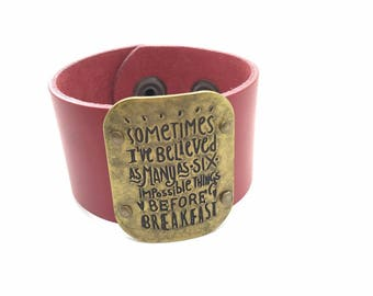 "Red Leather Cuff ""Alice"" Quote"