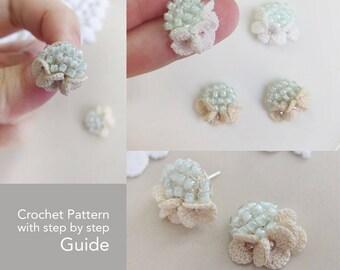 Crochet flower pattern, Crochet applique flowers, Crochet applique pattern, PDF Crochet pattern UK terms, Crochet pattern wedding earrings