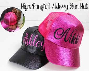 Custom Monogrammed Embroidered High Ponytail Trucker Hat High Pony Cap  Baseball Hat Messy Bun Hat Ballcap Women Ball Cap