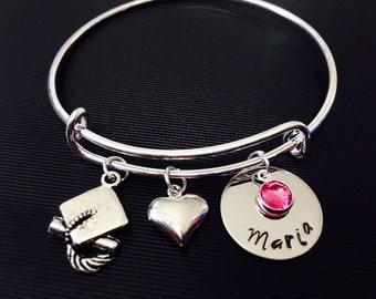 Personalized Names Bangle Bracelet -Graduation Bracelet - Hand Stamped Jewelry - Expandable Wire Bangle - Name Birthstone Bracelet -
