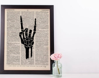 I Love You Sign Language Skeleton Hand Dictionary Print