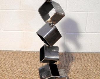 Free Standing Metal Sculpture, Steel Cube Sculpture, Modern Art, Geometric  Cube,