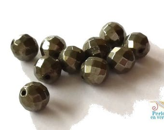 10 pearls 6mm pyrite, faceted, metallic grey/bronze color (pg79)