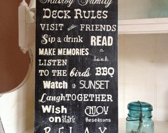 Deck Rules Family Sign, Porch Rules Family Sign, Customized Deck/Porch Sign, Typography/Subway Style Sign, Exterior Coated