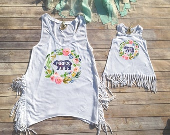 Mommy and Me Set, Mommy and Me Outfits, Mom and Daughter Shirts, Mama Bear Shirt, Mom and Daughter Set, Baby Bear Shirt, Infant Fringe Dress