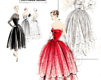 1950s 50s ball gown bridal wedding dress // vintage sewing pattern reproduction // strapless bustier // lace overlay // Bust 32 34 36 38