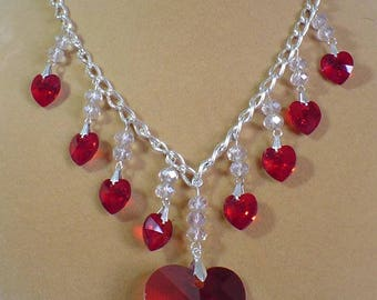 "Beautiful 18"" ""Burning Hearts"" necklace and Earrings Set - S085"