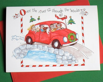 Volkswagen Christmas Cards - Funny Christmas Cards - VW Bug Holiday Cards - Boxed Christmas Cards Set