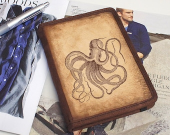 Kindle Leather Cover - Octopus - Customizable - Free Personalization
