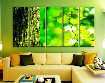 """LARGE 30""""x 60"""" 5 Panels Art Canvas Print beautiful Spring nature tree trunk leaves Wall Home Decor interior (Included framed 1.5"""" depth)"""