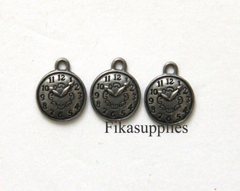 10pcs Dull Antique Silver Round Pocket Watch Charms 15X12mm ( JF0009- FikaSupplies )