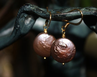 Mercury Colored Coin Pearl Earrings