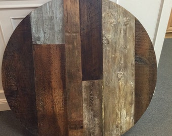 Round Dining Table Top, Reclaimed Wood, Multi Wood Variety, Multi Color  ,mixed
