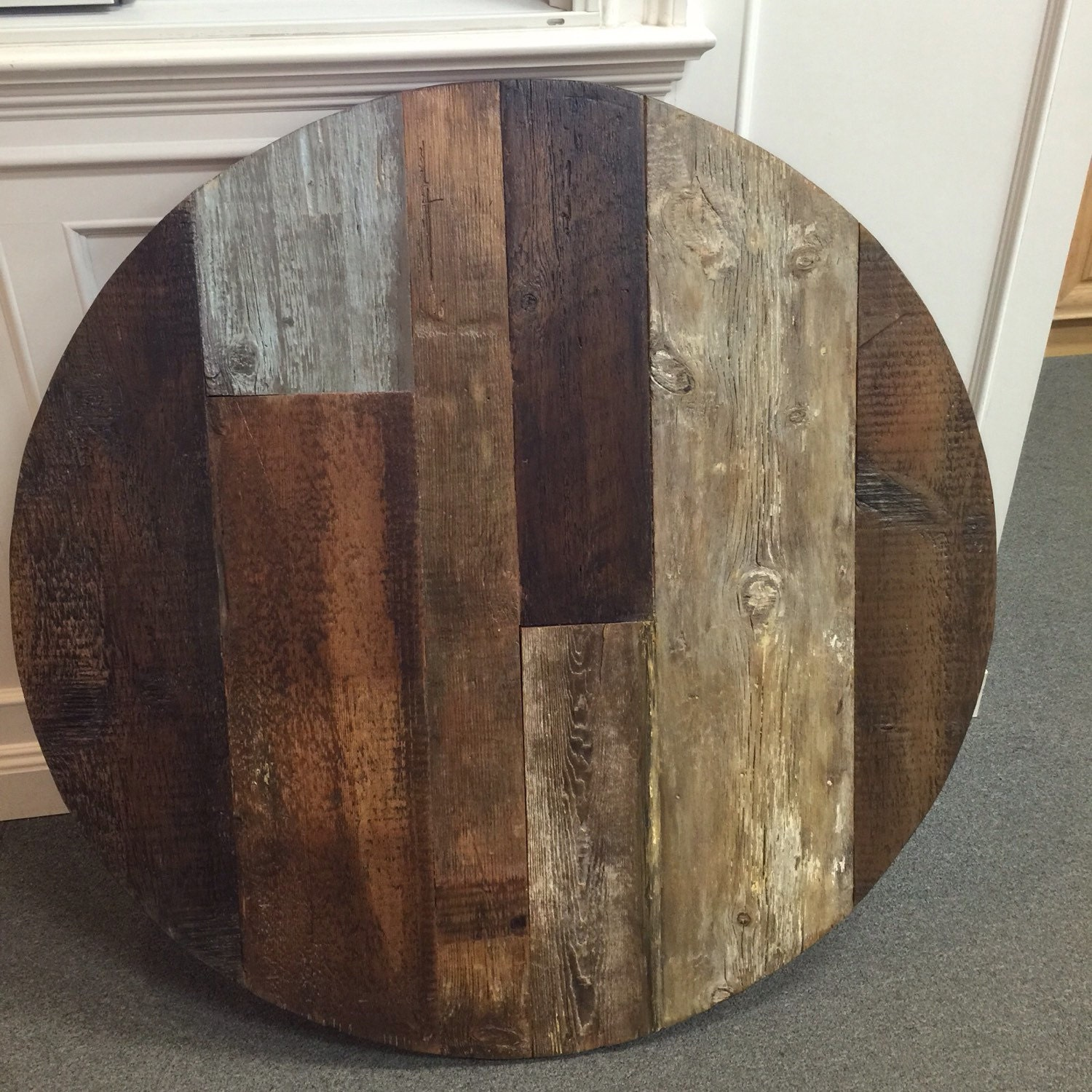 Round dining table top reclaimed wood patterned table multi