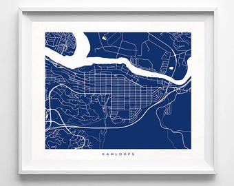 Kamloops Map, Canada Print, Kamloops Poster, Canada Art, Decor Idea, Home Town, Giclee, Valentines Decor, Valentines Decorations, Valentines