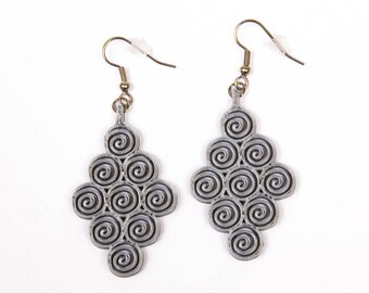 Swirl Earrings / 3D printed earrings / many colors available