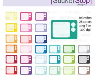 TV Set Clipart 28 colors, PNG Digital Clipart - Instant download - television clip art tv shows movies microwave kitchen