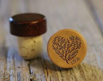 BEST PRICE ** Lot of Personalized Custom Wine Stopper, Laser Engraved Cork Bottle Topper, Reusable Rustic Wedding Favor --WS-L-HrtTreeDate