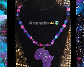 GALAXY AFRICA NECKLACE (hand painted)