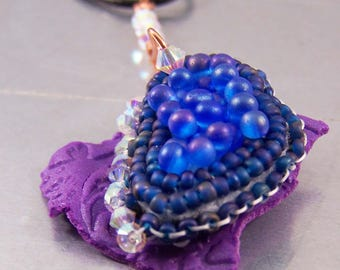 Purple Shard Necklace with Bead Embroidery Swarovski Crystals