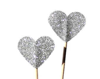 10 cup cake, glittering, silver, Toothpicks heart, Double Sided, Party Picks, Cupcake Topper, Baby Shower Decoration, silver
