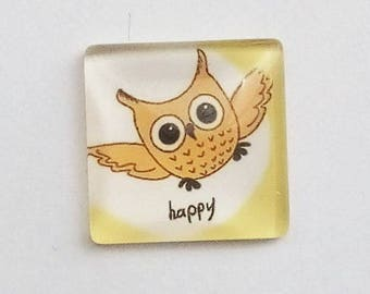 "square cabochon, 20mm OWL ""happy"""