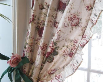 Frilled Lined Roses Curtains - Lined Drapery of Cabbage Roses - Roses Window Treatment -Shabby French - by mailordervintage on etsy