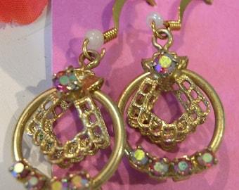 Earrings 1960's Vintage aurora borealis Retro Crytal 14K Gold Wires