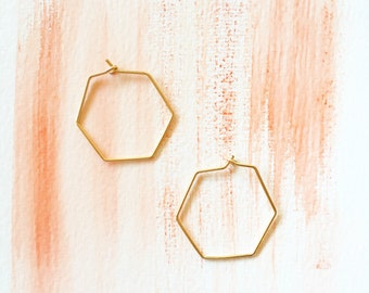 Unique Hexagon Earrings avaible in Sterling Silver, 14K Gold Filled or Rose Gold Filled