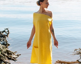 Linen dress Shaucha, Yellow dress, dress-meditation, short dress, yoga dress, boho dress