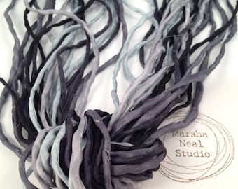 Hand Dyed Silk Ribbon - Silk Cord - DIY - Jewelry Supplies - Wrap Bracelet - Craft Supplies - 2mm Silk Cord Strands Stormy Skies Palette
