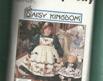 Simplicity 7304 Daisy Kingdom  Dress & Pinafore for Little Girls  Raised Waist and Matching Doll Dress  Sizes 5 to 8