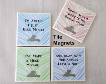 Arrested Development Tile Magnets Refrigerator Magnet Funny Gift for Friend Office Gift Funny Magnets TV Comedy Quotes - Boxed Set of 4