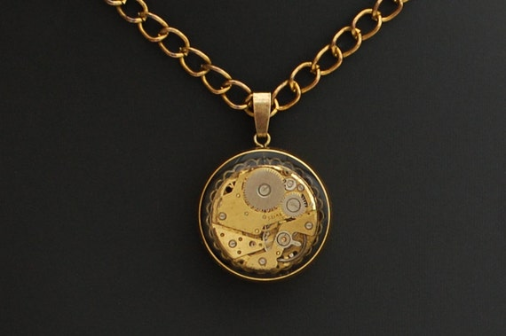 Steampunk Pendant / Necklace, Vintage Watch Movement Set In Brass Bezel With Vintage Chain