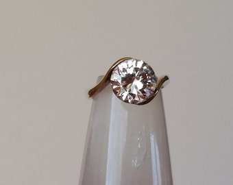 Large CZ Solitare in Sterling Silver Ring***SALE***