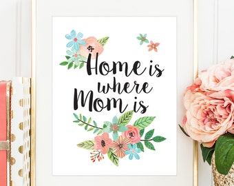 Mothers Day Printable, Home is Where Mom Is, Mothers Day Print, Mother's Day Gift, Coral and Mint Decor, PRINTABLE, Mother's Day Gift