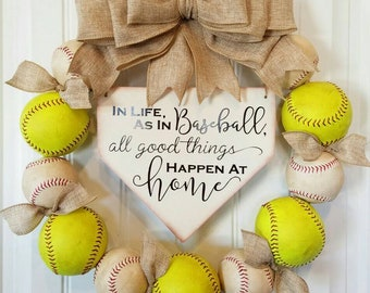Baseball Wreath - Softball Wreath with burlap bow -Home Base Sign-Softball- MLB - Baseball- Front Door Wreaths - Gifts for Her- Coach's Gift