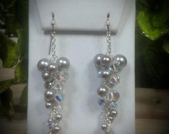 Silver Swarovski Crystal & Pearl Vine Earrings