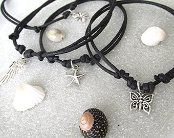 SALE! Selected anklets 2 for the price of one! Two adjustable cord charm anklet ankle bracelet starfish butterfly angel wing clover vegan.