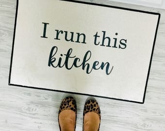 "I run this kitchen indoor mat - 18x27"" - area rug - kitchen mat - calligraphy - I run this - kitchen decor - farmhouse decor - bakers"