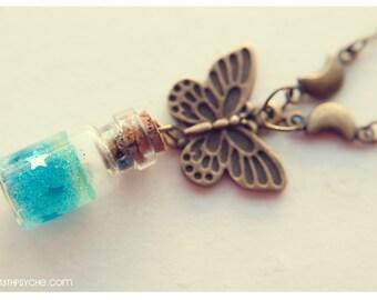 Butterfly Necklace,glass bottle necklace,butterfly jewelry,star necklace,inspirational womens gift for her,cute necklace,glass vial necklace